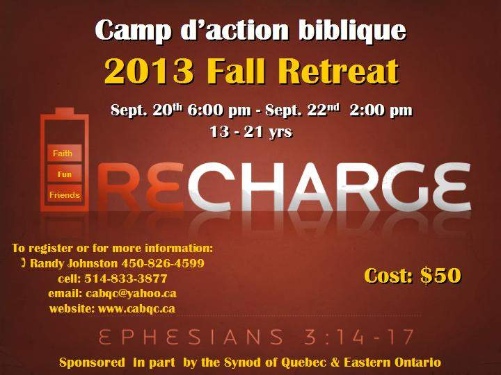 2013 Fall Retreat flyer